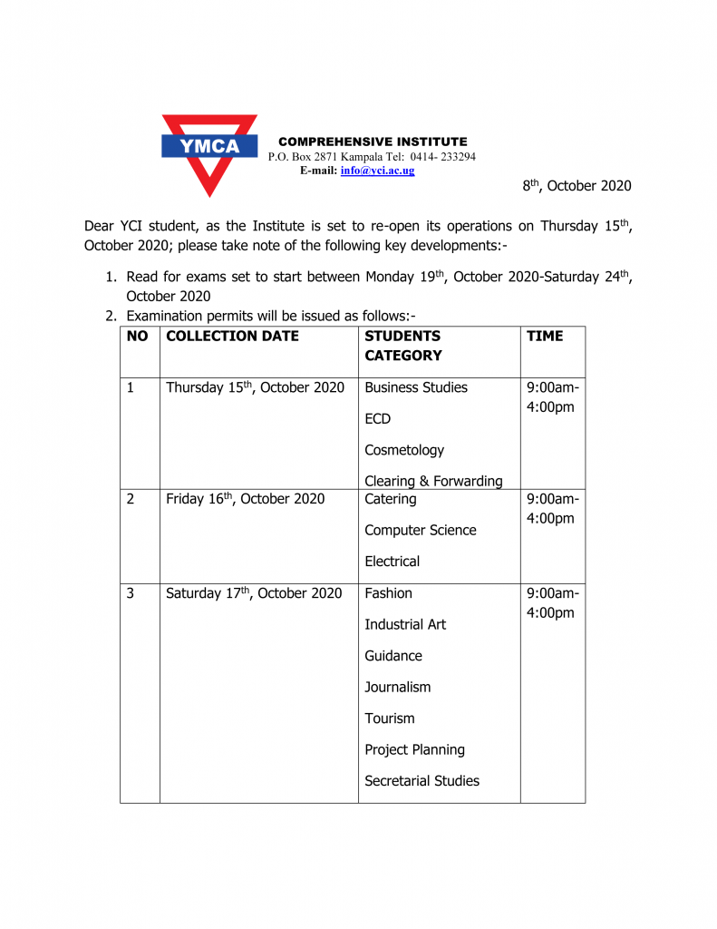 Schedule for Picking Examination permits